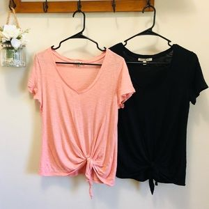 Express Lot of 2 Short Sleeve Knotted V-neck T-Shirts Pink & Black Size Small
